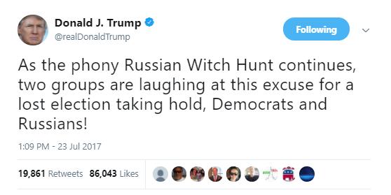 trump-witch-hunt POLITICO: FBI Surveillance In Russia Probe May Have Caught Key Trump Cabinet Member Donald Trump Politics Russia Top Stories