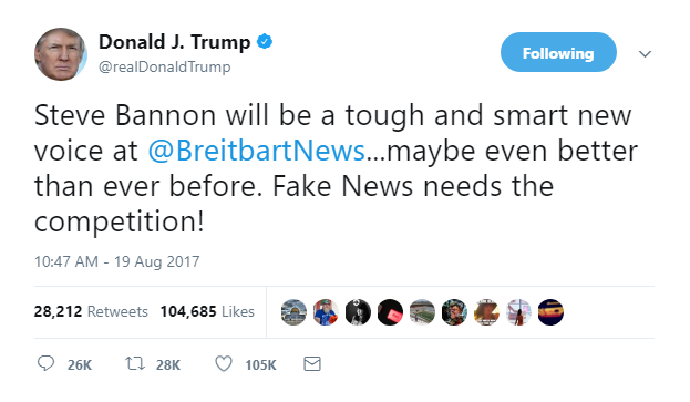 2018-01-04-08_42_58-Donald-J.-Trump-on-Twitter_-_Steve-Bannon-will-be-a-tough-and-smart-new-voice-at Bannon Book Author Drops Tape Bombshell That Has Trump Firing Up His Legal Team Corruption Donald Trump Election 2016 Featured Politics Russia Top Stories