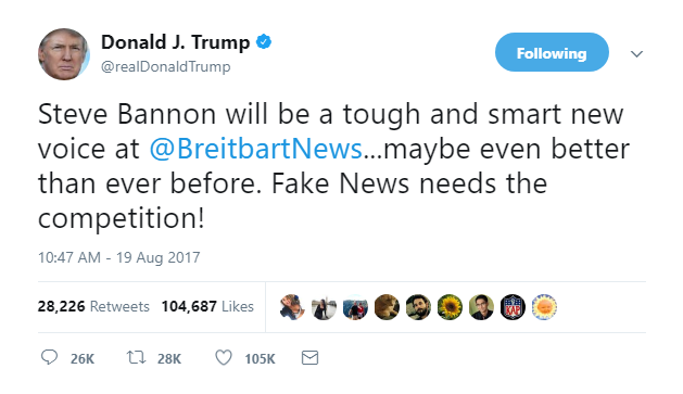 2018-01-04-20_08_46-Donald-J.-Trump-on-Twitter_-_Steve-Bannon-will-be-a-tough-and-smart-new-voice-at JUST IN: Anti-Trump Book To End Steve Bannon's Time At Breitbart - YOU'RE FIRED! Donald Trump Featured Politics Top Stories