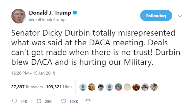 2018-01-16-13_46_17-Donald-J.-Trump-on-Twitter_-_Senator-Dicky-Durbin-totally-misrepresented-what-wa Cory Booker Annihilates Homeland Security Secretary For 'Complicity' In Trump's Racism Donald Trump Featured Immigration Politics Racism Top Stories Videos