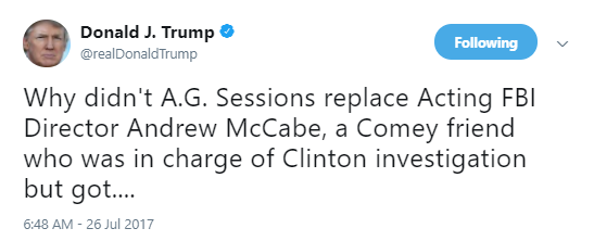 mccabe-one Jeff Sessions Busted Plotting Against Justice Dept. Members In The Sleaziest Way Ever Corruption Donald Trump Politics Top Stories