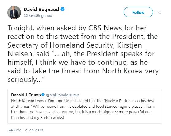 neilsen Secretary Of Homeland Security Just Responded To Trump's Nuclear War Threats Donald Trump Politics Social Media Top Stories