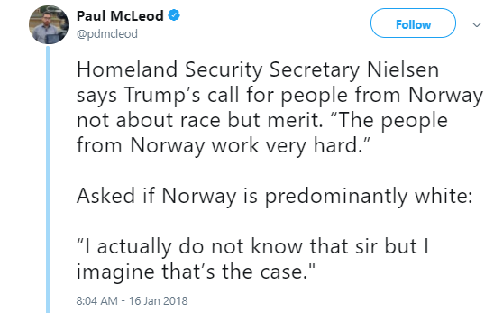 norway-white-people Kamala Harris Calls Out Homeland Security Secretary For Being Racist Like A Boss (VIDEO) Immigration