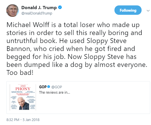 trump-wolff1 Steve Bannon Hysterically Cries Like A Little Baby & The Internet Is Going Crazy Donald Trump Politics Social Media Top Stories