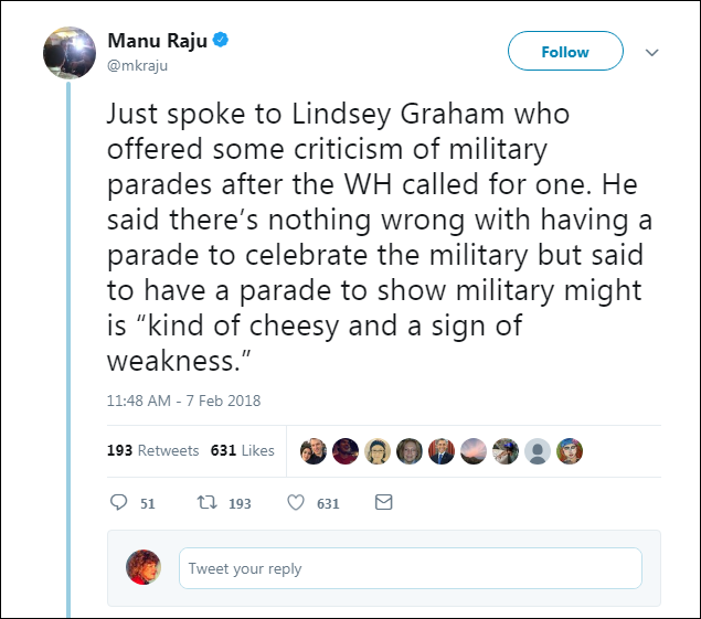 113 Lindsey Graham Responds To Trump's 'Cheesy' Parade With A Harsh Dose Of Reality Donald Trump Military Politics Top Stories