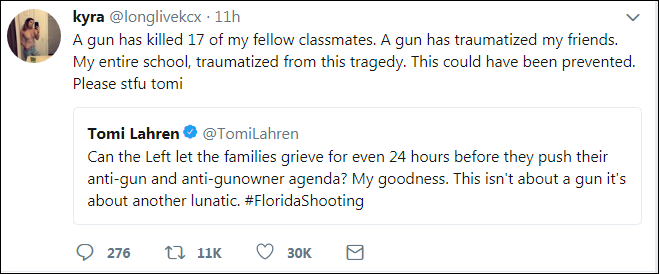 137 Traumatized Survivor Tears Into Tomi Lahren On Twitter After School Shooting Remarks Corruption Crime Domestic Policy Politics Top Stories