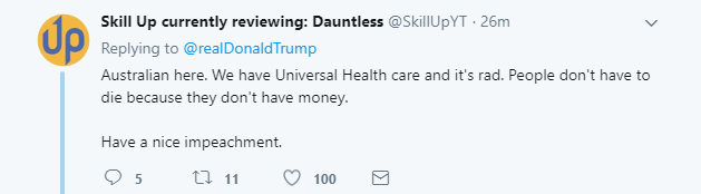 2018-02-05-07_52_50-Donald-J.-Trump-on-Twitter_-_The-Democrats-are-pushing-for-Universal-HealthCare- Trump Tweets Early Morning Lies About The U.K. & Regrets It In 9 Seconds Flat Donald Trump Featured Healthcare Politics Social Media Top Stories