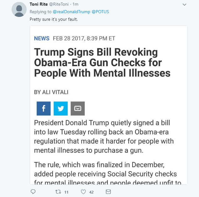 2018-02-15-07_31_38-Donald-J.-Trump-on-Twitter_-_So-many-signs-that-the-Florida-shooter-was-mentally Trump Blames 'Neighbors And Classmates' Of Shooter For Deadly School Rampage Crime Donald Trump Featured Gun Control Politics Social Media Top Stories