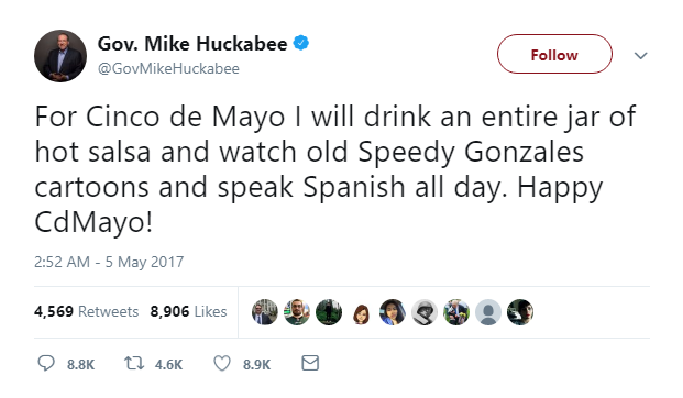 2018-02-26-16_48_48-Gov.-Mike-Huckabee-on-Twitter_-_For-Cinco-de-Mayo-I-will-drink-an-entire-jar-of- Watch Flustered Sarah Sanders Responds To Trump's Claim He'd Takeout A Gunman Donald Trump Featured Politics Shooting Top Stories Videos