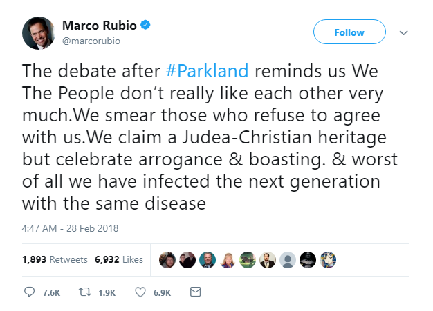 2018-02-28-10_01_31-Marco-Rubio-on-Twitter_-_The-debate-after-Parkland-reminds-us-We-The-People-don Marco Rubio Gets Creamed On Twitter After Whiny Wednesday AM Rant About Guns Crime Featured Gun Control Politics Shooting Top Stories