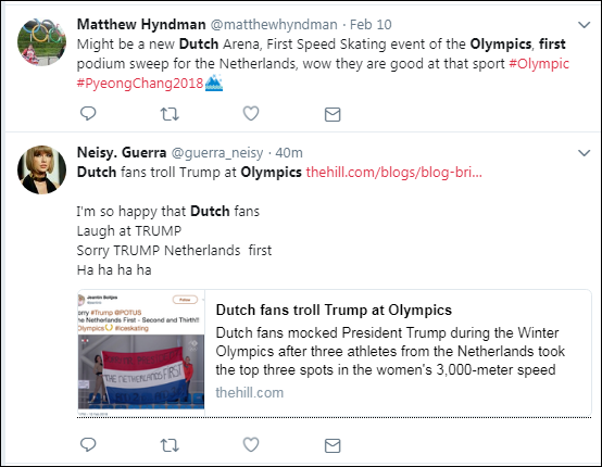 310 Dutch Olympic Fans Hilariously Troll Trump With Humiliating Banner Broadcast LIVE Donald Trump Politics Top Stories
