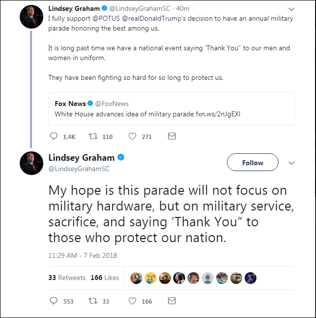 45 Lindsey Graham Responds To Trump's 'Cheesy' Parade With A Harsh Dose Of Reality Donald Trump Military Politics Top Stories