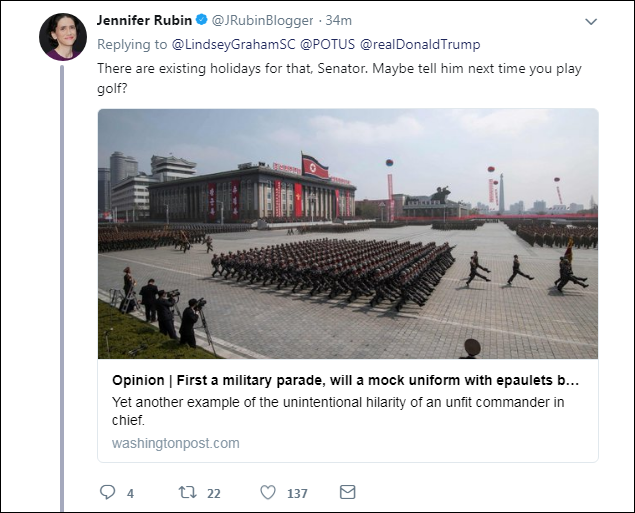 c10 Lindsey Graham Responds To Trump's 'Cheesy' Parade With A Harsh Dose Of Reality Donald Trump Military Politics Top Stories