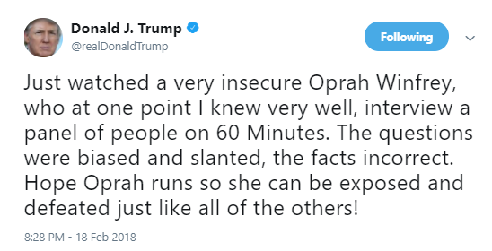 trump-oprah-tweet Trump Just Freaked Out On Oprah During A Crazy Monday Morning Twitter Rant Donald Trump Election 2020 Politics Social Media Top Stories