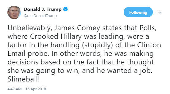 slime-ball James Comey Tweets About The Anniversary Of His Firing Like A True American Patriot Corruption Donald Trump Politics Social Media Top Stories