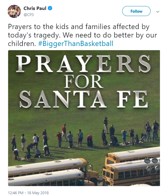 chris-paul Football Star Makes Announcement To Families Of Santa Fe High Mass Shooting Victims Donald Trump Politics Social Media Top Stories