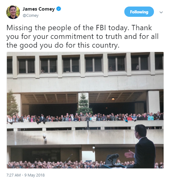 comey-one-year James Comey Tweets About The Anniversary Of His Firing Like A True American Patriot Corruption Donald Trump Politics Social Media Top Stories