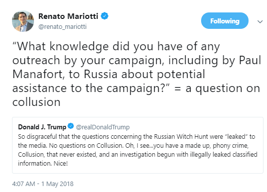 mariotti Trump AM Rants About Mueller's Questions Being Leaked - Tweets So Stupid, It's Scary Donald Trump Politics Social Media Top Stories