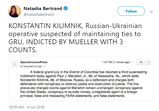 kilimnik Mueller Just Busted Another Manafort Associate; Obstruction Of Justice Charges Hit Hard Corruption Donald Trump Politics Top Stories