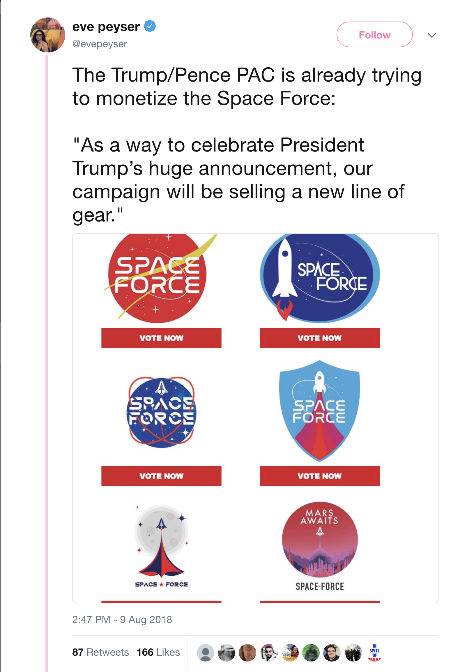 Screen-Shot-2018-08-09-at-4.55.47-PM Trump Administration Reveals New Space Force Logos That Will Make You Die Laughing Donald Trump Military Politics Science Top Stories