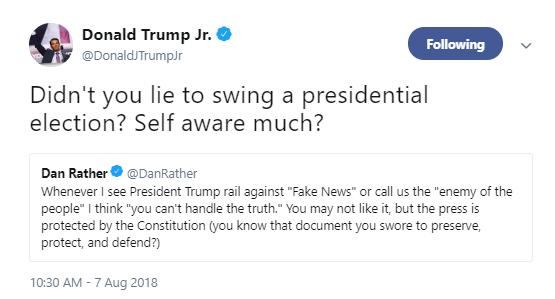 trump-jr-rather Donald Trump Jr. Just Attacked Beloved Journalist Dan Rather On Twitter Like A Punk Donald Trump Media Politics Social Media Top Stories