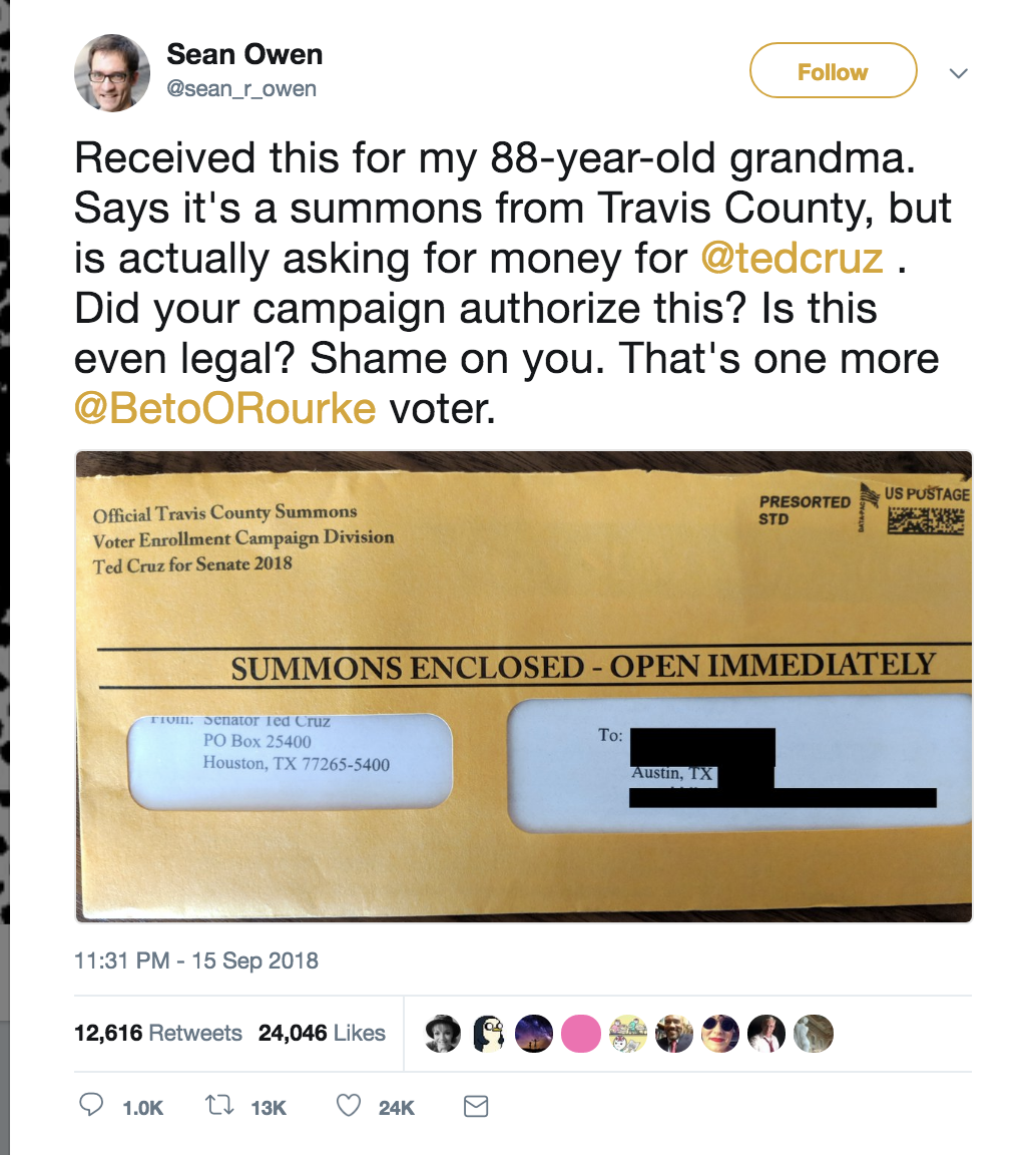 Screen-Shot-2018-09-16-at-11.54.42-AM Ted Cruz Fake Court Summons Letters Sent To Scare Elderly Voters Into Donating (IMAGE) Corruption Crime Donald Trump Politics Top Stories