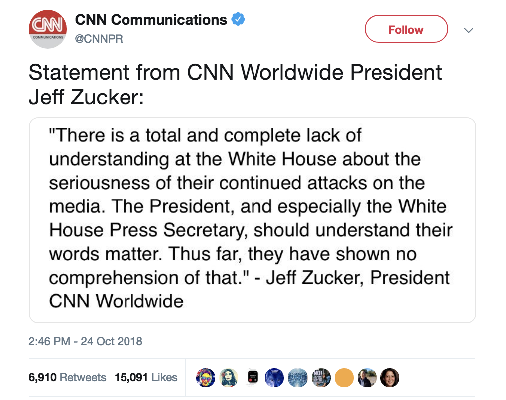 Screen-Shot-2018-10-24-at-4.32.41-PM CNN President Takes On Trump For His Phony Response To Bombs Corruption Crime Donald Trump Media Politics Terrorism Top Stories