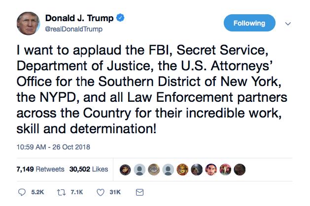 Screenshot-at-Oct-26-15-05-53 Trump Tweets Praise For Law Enforcement For Apprehending His Deranged Supporter Donald Trump Featured Politics Social Media Terrorism Top Stories