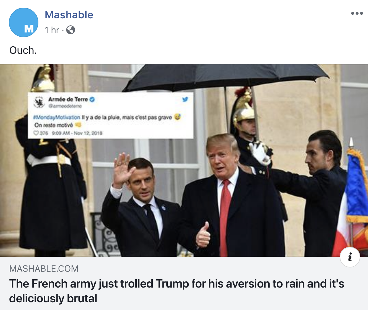 Screen-Shot-2018-11-12-at-8.47.46-AM French Army Mocks Trump Upon Departure & The Hilarity Will Kill His Fragile Ego Corruption Donald Trump Foreign Policy History Military Politics Top Stories