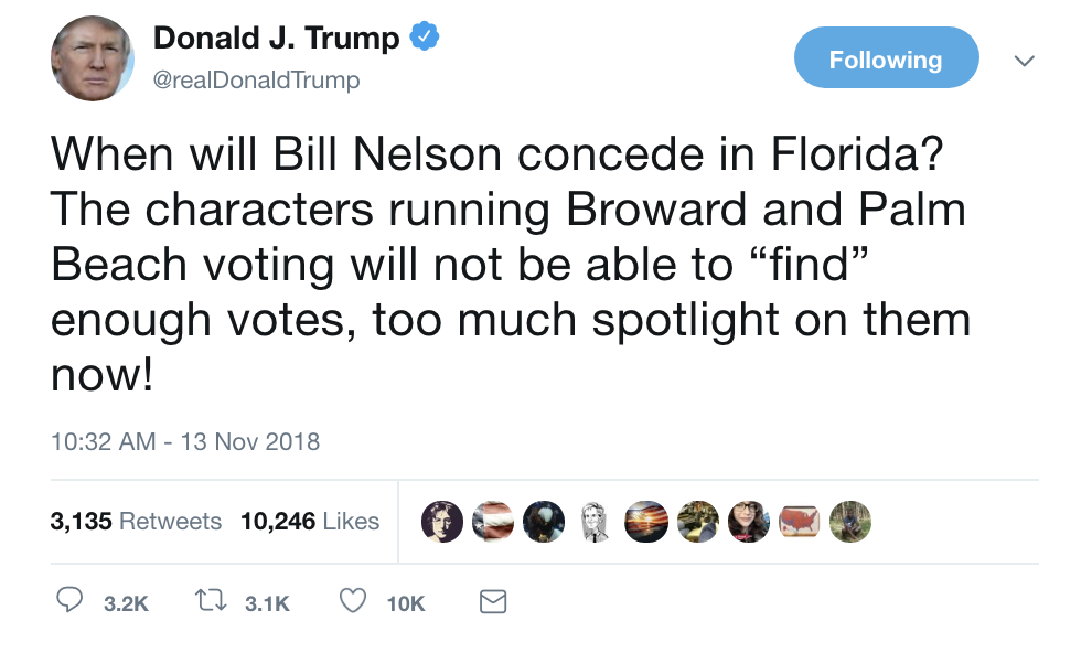 Screen-Shot-2018-11-13-at-10.44.17-AM Trump Tweets About Florida Recount In Desperate Attempt To Sway Outcome Corruption Crime Donald Trump Election 2018 Election 2020 Politics Top Stories