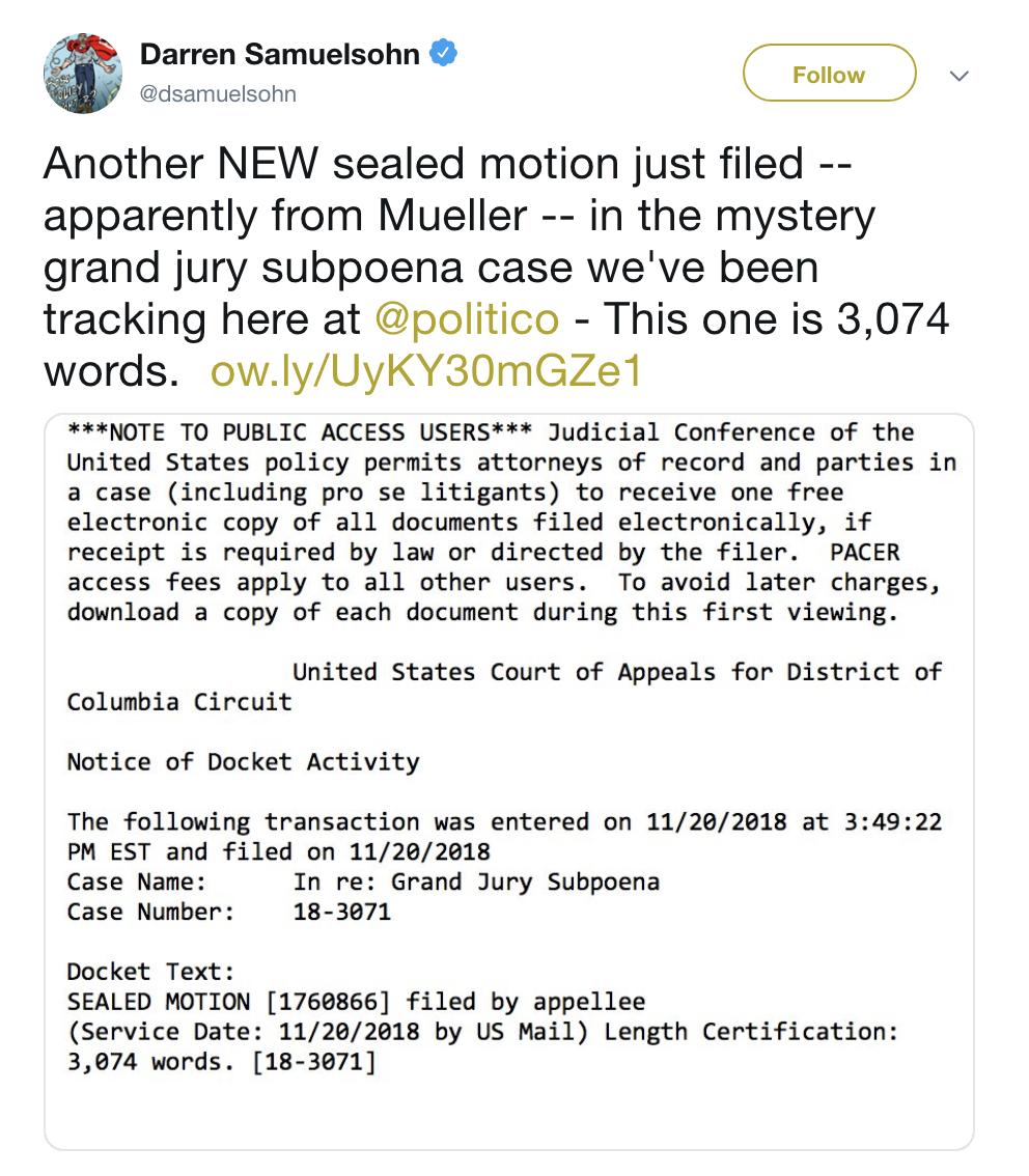 Screen-Shot-2018-11-20-at-3.45.33-PM Grand Jury Mueller Subpoena Announced By 'Politico' & Donald Is Raging Hard Corruption Crime Donald Trump Mueller Politics Russia Top Stories