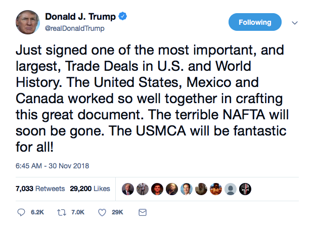 Screenshot-at-Nov-30-10-47-33 Trump Tweets That He Ended NAFTA - Gets Humiliated In 6 Seconds Flat Donald Trump Featured Foreign Policy Politics Social Media Top Stories