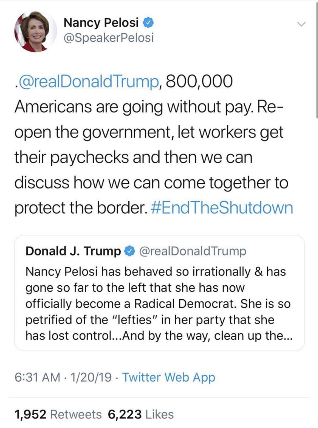 Screen-Shot-2019-01-20-at-8.55.59-AM Pelosi Responds To Trump's Sunday Morning Tweet Attack Like A Rebel Badass Corruption Crime Domestic Policy Donald Trump Politics Top Stories