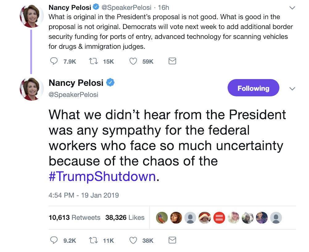 Screen-Shot-2019-01-20-at-9.02.49-AM Pelosi Responds To Trump's Sunday Morning Tweet Attack Like A Rebel Badass Corruption Crime Domestic Policy Donald Trump Politics Top Stories