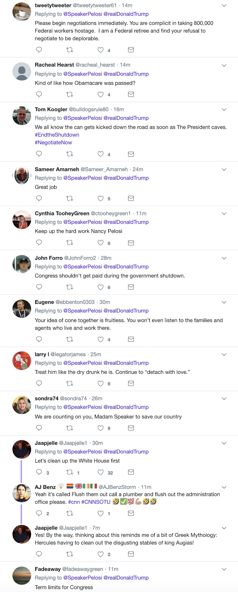 Screen-Shot-2019-01-20-at-9.07.09-AM Pelosi Responds To Trump's Sunday Morning Tweet Attack Like A Rebel Badass Corruption Crime Domestic Policy Donald Trump Politics Top Stories