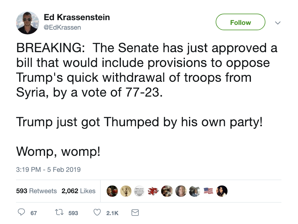 Screen-Shot-2019-02-05-at-3.47.04-PM Senate Votes 77-23 Against Major Trump Decision & He's Livid Corruption Crime Donald Trump Foreign Policy Military Top Stories