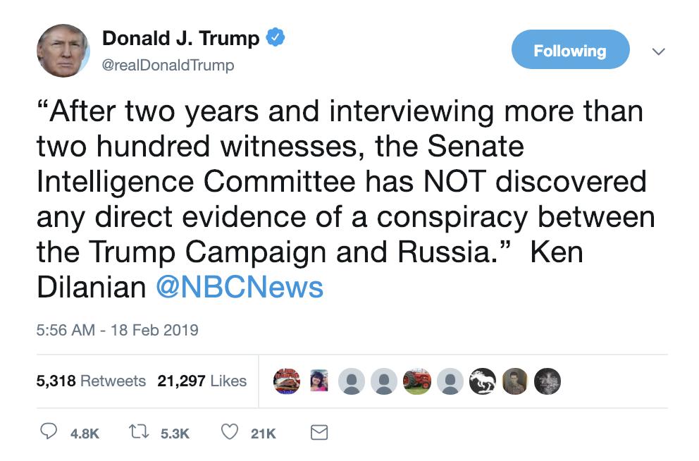 Screen-Shot-2019-02-18-at-6.57.43-AM.png?zoom=2 Trump Erupts Into Multi-Tweet Emotional Breakdown Corruption Crime Donald Trump Media Mueller Politics Robert Mueller Russia Top Stories