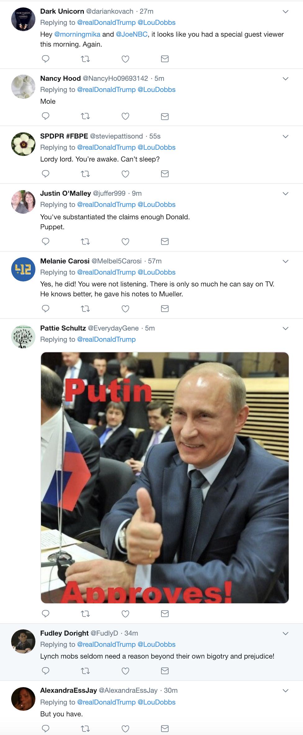 Screen-Shot-2019-02-20-at-7.13.41-AM Trump Wakes In A Tizzy, Unleashes 5-Tweet Ramble Like A Mental Patient Corruption Crime Donald Trump James Comey Mueller Politics Robert Mueller Russia Top Stories