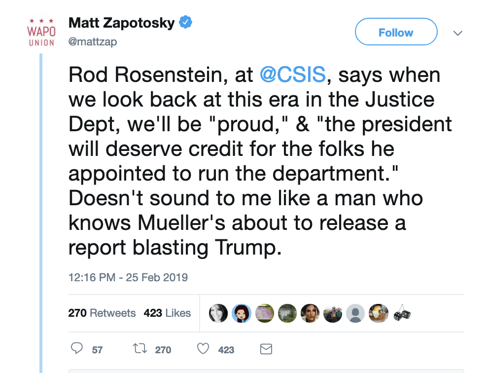 Screen-Shot-2019-02-25-at-3.56.54-PM Deputy AG Rosenstein Makes Cryptic Mueller Remarks & It's On Corruption Crime Donald Trump Election 2016 Election 2020 Mueller Politics Robert Mueller Russia Top Stories