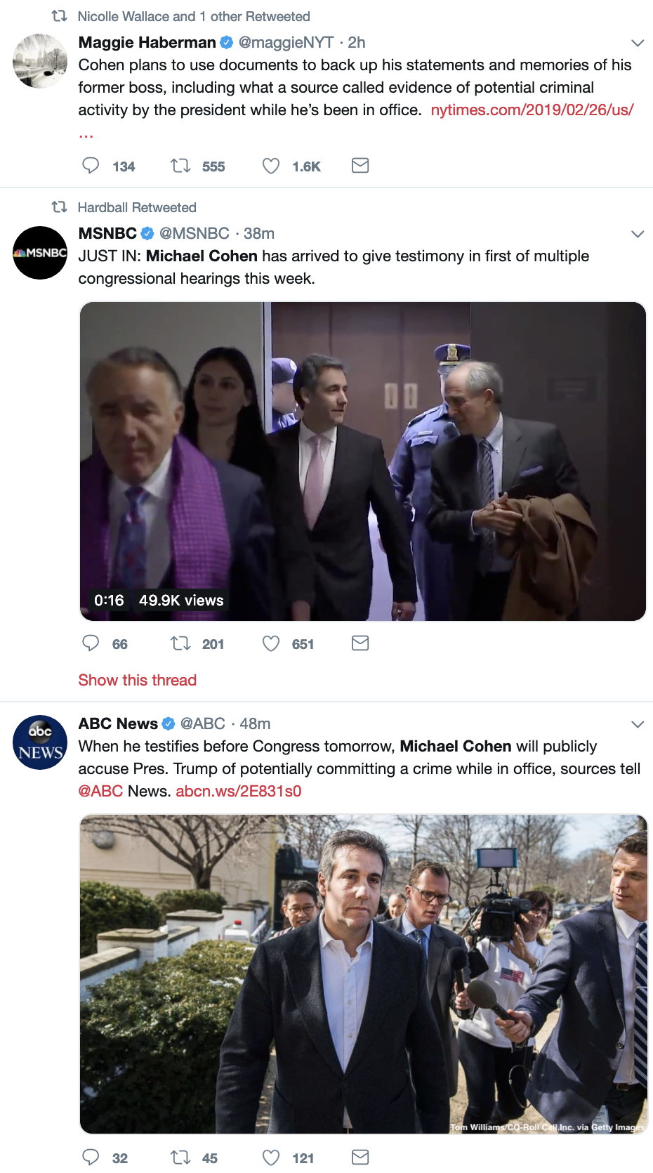 Screen-Shot-2019-02-26-at-8.51.46-AM Cohen To Testify Against Trump's Crimes While In Office In 'Granular Detail' Corruption Crime Donald Trump Election 2016 Mueller Politics Robert Mueller Russia Top Stories