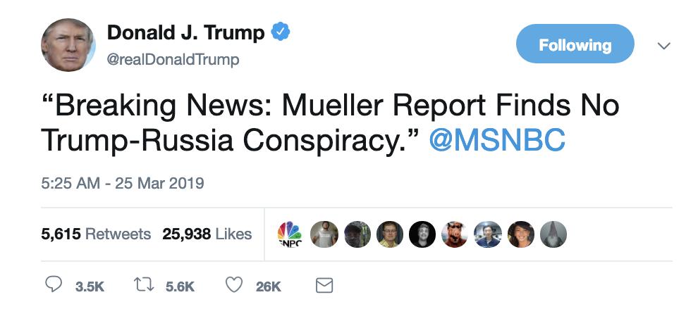 Screen-Shot-2019-03-25-at-6.51.26-AM Trump Rockets Out Of Bed To Unleash Monday A.M. Mueller Rant Corruption Crime Donald Trump Mueller Politics Robert Mueller Russia Top Stories