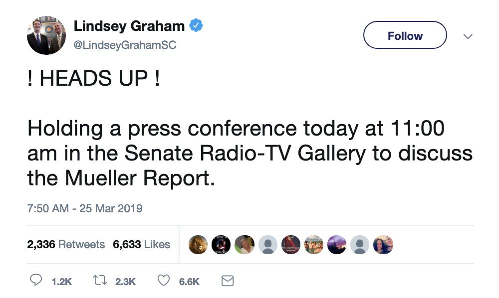 Screen-Shot-2019-03-25-at-8.49.02-AM Graham Makes Mueller Report Announcement On Twitter Monday Corruption Crime Donald Trump Election 2016 Mueller Politics Robert Mueller Russia Top Stories