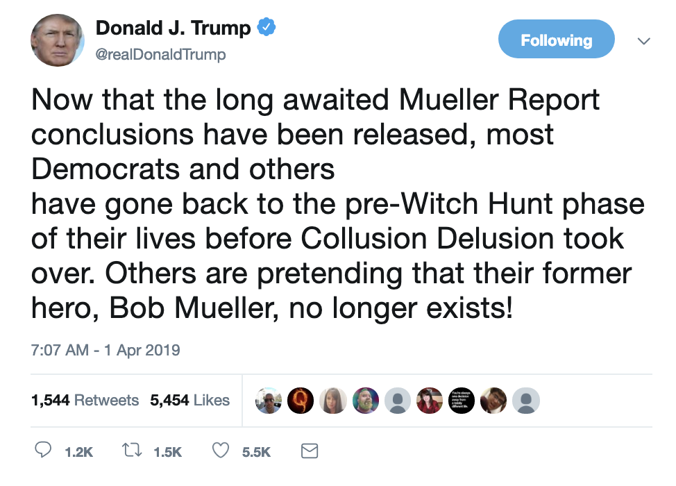Screen-Shot-2019-04-01-at-7.14.10-AM Trump Tweets Monday Madness, Swears Mueller Report Was Released Child Abuse Corruption Crime Donald Trump Immigration Investigation Mueller Politics Racism Refugees Robert Mueller Russia Top Stories
