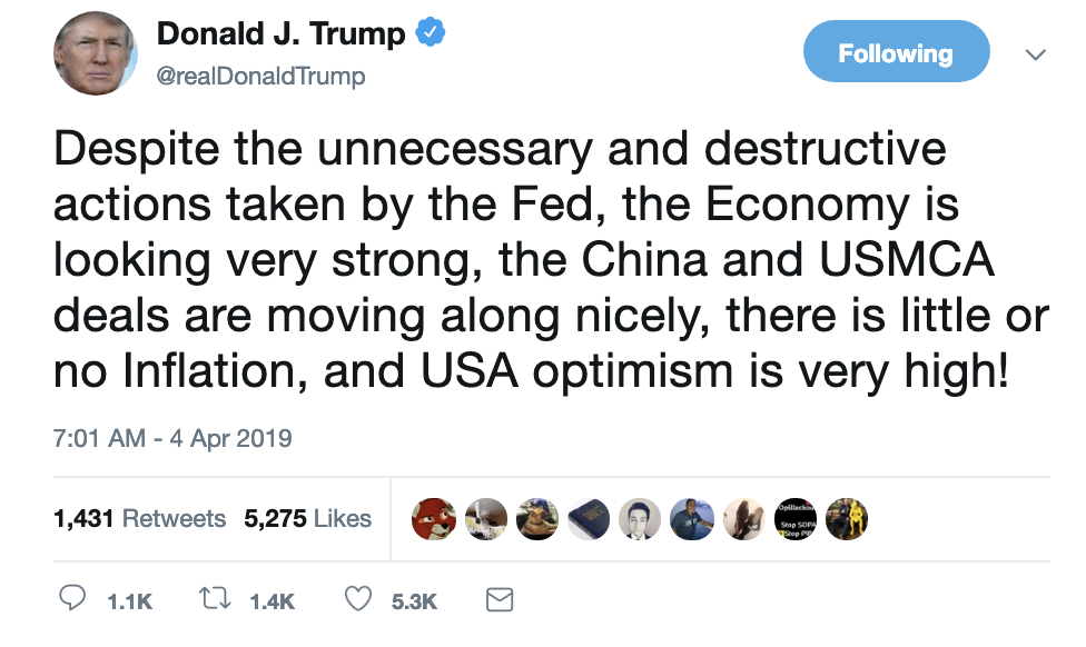 Screen-Shot-2019-04-04-at-7.08.28-AM Trump Rockets Out Of Bed To Scream-Tweet 10 Words In All Caps Corruption Crime Donald Trump Economy Politics Top Stories