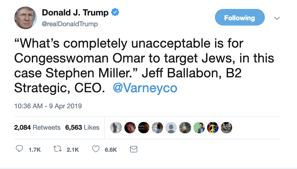 Screen-Shot-2019-04-09-at-10.46.25-AM Trump Makes An Ass Of Himself On Twitter Like An Old Bigot Corruption Crime Domestic Policy Donald Trump Politics Social Media Top Stories