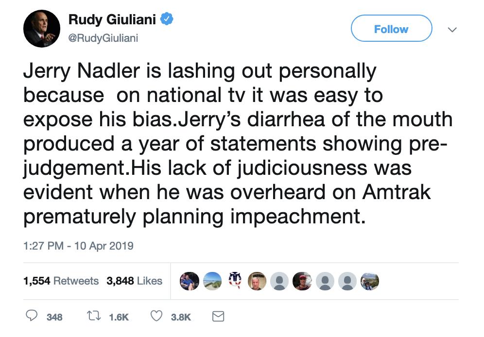Screen-Shot-2019-04-10-at-2.22.54-PM Giuliani Creates PR Nightmare For Trump During Bizarre Twitter Meltdown Corruption Crime Donald Trump Politics Top Stories
