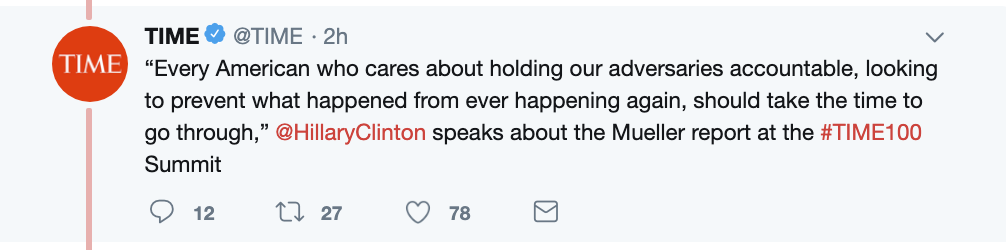 Screen-Shot-2019-04-23-at-3.09.02-PM Hillary Talks About Trump Going To Prison & People Lose Their Sh*t Corruption Crime Donald Trump Election 2016 Investigation Mueller Politics Robert Mueller Russia Top Stories