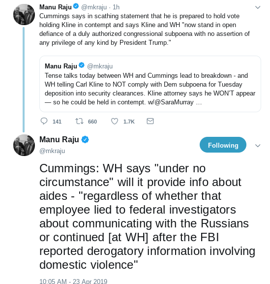 Screenshot-2019-04-23-at-2.13.54-PM Elijah Cummings Threatens To Hold Former Trump Official In Contempt Corruption Donald Trump Politics Top Stories