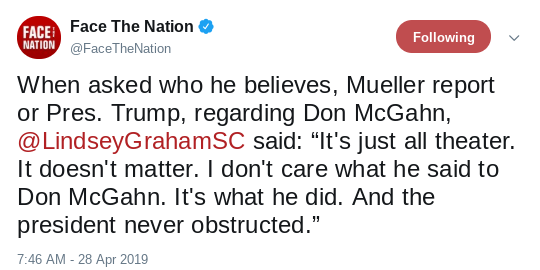 Screenshot-2019-04-28-at-11.01.38-AM Lindsey Graham Appears On 'CBS Sunday' & Suffers Instant Public Humiliation Corruption Donald Trump Media Politics Top Stories