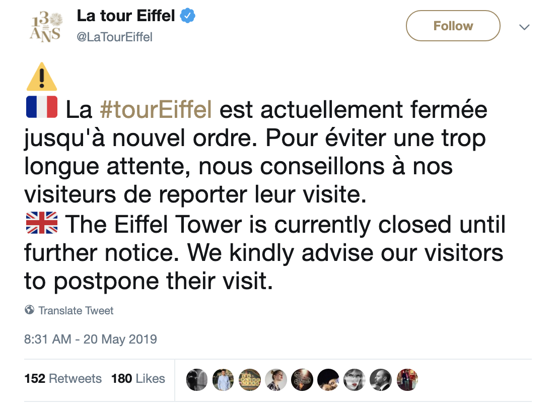 Screen-Shot-2019-05-20-at-12.11.03-PM JUST IN: Police Shut Down Eiffel Tower Shut Over Criminal Act Crime Foreign Policy Social Media Top Stories